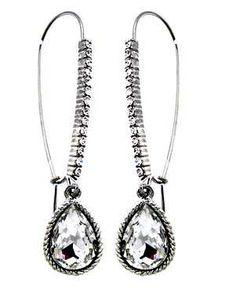 Long Teardrop Crystal Earrings - Silver