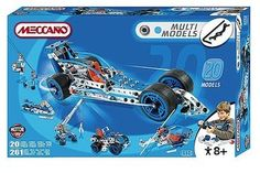 Meccano 20 Multi Model Set Build and construct 20 different models including a dragster, helicopter, and crane, with this Meccano construction set. Includes 261 parts, all tools and instructions and a 3V electric motor to allow http://www.comparestoreprices.co.uk/childs-toys/meccano-20-multi-model-set.asp