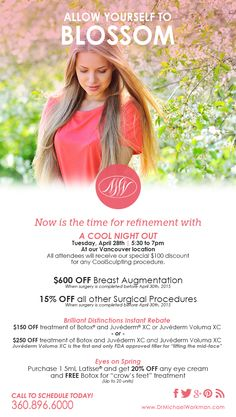 Join us for a cool night out on Tuesday, April 28th at our Vancouver location from 5:30 - 7:30pm! Also, take a look at our April specials below. We look forward to hearing from you!