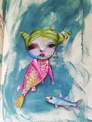 mermaid mixed media  by Stephanie Schleicher