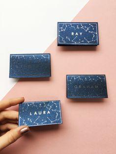 Constellation place cards, starry night wedding, galaxy wedding, celestial theme. #celestialwedding #nightskywedding #navymetallicwedding #constellationplacecards