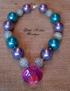Chunky Bubblegum Necklace Purple and Blue