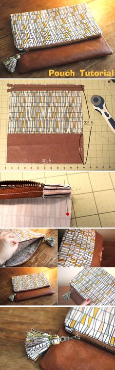 33 Ideas For Diy Bag Ideas Pouch Tutorial Sewing Hacks, Sewing Tutorials, Sewing Crafts, Sewing Patterns, Purse Patterns, Sewing Diy, Sewing Ideas, Pochette Diy, Zipper Pouch Tutorial