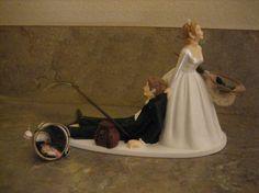 Fishing themed Wedding Cake Topper for the Groom -- Groom's Cake. $45.00 USD, via Etsy.