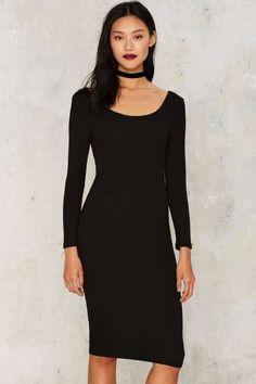 Glamorous Dominique Ribbed Midi Dress