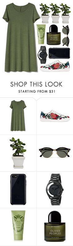"""""""Greenie #48589"""" by flowersfordinner ❤ liked on Polyvore featuring Gap, Gucci, Ray-Ban, Belkin, Marc by Marc Jacobs, Sisley and Byredo"""