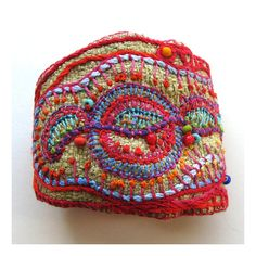 Beautiful. Her work is so detailed.  Hand Embroidered MultiColored Cuff by MadrigalEmbroidery on Etsy, $93.00