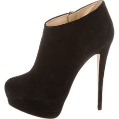 Pre-owned Giuseppe Zanotti Suede Platform Ankle Booties ($225) ❤ liked on Polyvore featuring shoes, boots, ankle booties, black, zipper boots, suede boots, suede ankle booties, black platform ankle booties and black boots