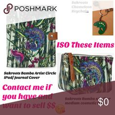 """ISO WANT TO BUY THESE ITEMS FROM SAKROOTS """"BAMBU"""" Jungle, rainforest theme featuring bamboo and a chameleon. Sakroots """"Bambu"""" artist circle from a previous season. Want Ipad cover or journal as shown, cosmetic bag and keychain. Let me know if you have and you want to sell. Sakroots Accessories Tablet Cases"""