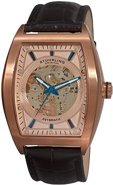 Men's 182C.334514 Leisure Millennia Visionaire Automatic Skeleton Rose Tone Dial Watch Set