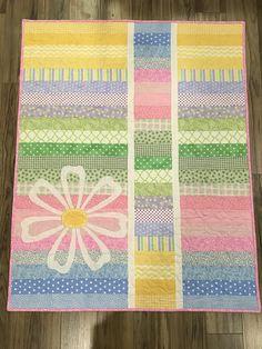 Pastel Flower Baby Quilt 100% cotton Machine washable