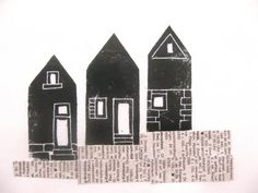 linocut houses stamp by anne meyer #hand_carved #crafts #handmade