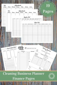 Cleaning Business Planner And Manager Services Small Plan Finance Management Printable Forms