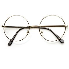 Vintage Lennon Inspired Clear Lens Round Frame Glasses 9222 ($13) ❤ liked on Polyvore featuring accessories, eyewear, eyeglasses, glasses, vintage eye glasses, round metal glasses, circular glasses, vintage round eyeglasses and vintage round glasses
