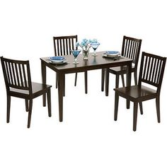 "Contemporary Shaker-style dining table and set of 4 chairs. Sturdy rubber wood construction with a rich espresso finish.  Slat back Shaker-style design  Sturdy rubber wood construction with Espresso finish  Set complete with table and 4 chairs  Dimensions for Chairs: 19.63"" x 17.75"" x 35.5""  Dimensions for Table: 45"" x 28"" x 29""  Chair Model# 10018ESP4  Table Model# 10017ESP"