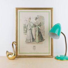 Antigua litografía coloreada, Le Salon de la Mode | Antic&Chic