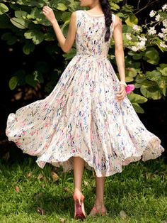 Very light and breezy chiffon floral frock.