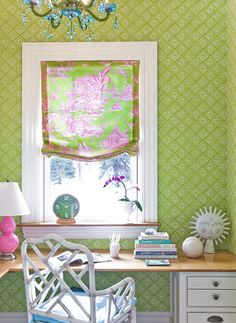 Love this green wallpaper and I'm really NOT a huge wallpaper girl.  belle maison: Designer Crush: Katie Rosenfeld