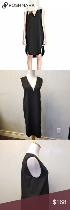 COACH black leather trim dress (BIN A-01) In perfect condition like new COACH black sleeveless dress with cream leather neckline trim.  has a band inside the dress to make it tighter  shoulders are 14in neckline plunge is 9in  bust is 17in armpit to slit is 23 in full length of dress from top to longest point is 40in. 62% polyester 33% viscose 5% spandex trim is 100% leather Coach Dresses Midi