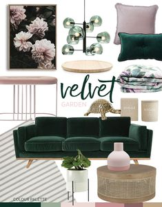 Trend: Velvet Garden Adore Home Magazine Living Room Decor Adore Garden Home Magazine Trend Velvet Green Living Room Decor, Living Room Green, Living Room Designs, Living Room Color, Green Sofa Living Room, Home Decor, Room Decor, Apartment Decor, Gold Living Room