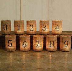 Burlap Votive Table Numbers | Wedding Ideas