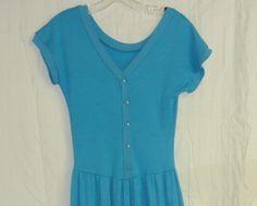 Blue Jersey Dropped Waist Vintage Comfy Feminine Dress Sz. Sm.