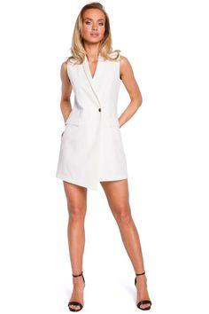 6005a5cbf665 Γιλέκο φόρεμα με τσέπες μίνι - Άσπρο. Fashion e-Shop