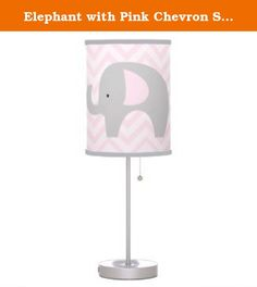 Elephant with Pink Chevron Stripes Nursery Lamp / Gray Trim. This is an adorable elephant lamp with a gray/pink elephant and pink striped chevron design. The shade is pink and white, and the trim is GRAY*. (available in other colors in our Amazon store) This customized lamp shade, featuring our original artwork will add a one-of-a kind statement to your nursery decor and accent the theme.
