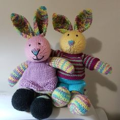 Finished! My Rainbow-accented Bunnies. They look so cute! It amazes me how different each one looks even though they're all knit from the same pattern. #littlecottonrabbits #knittedrabbit #knittedtoys #knitting #handmadetoys #socute