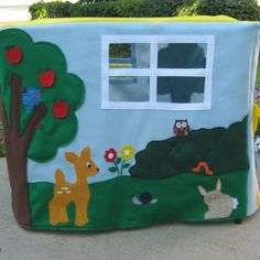 Card Table Playhouse Animal Sanctuary Felt door ThePlayhouseKid