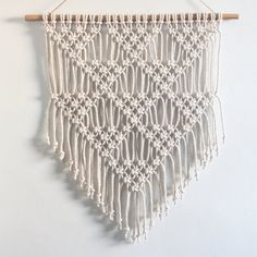 Macrame Wall Hanging LITTLE TRIANGLES Ecru by ButtermilkDesignCo