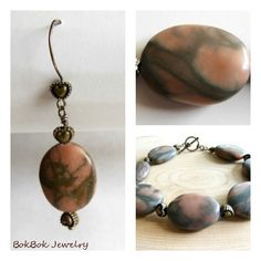 BokBok Jewelry - Matching Brown Canyon Marble Bracelet and Earring Set Stone Earrings, Stone Jewelry, Beaded Earrings, Jewelry Sets, Jewelry Making, Stocking Stuffers For Women, Wow Products, Earring Set, Handmade Jewelry