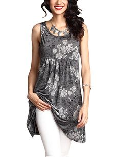d7a3e3bc653 Shineya Women s Fashion Floral Print Tunic Long Tank Top O Neck Sleeveless  Blouses with Plus Size Blue 3XL at Amazon Women s Clothing store