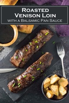 Roasted Venison Loin is served with a balsamic reduction pan sauce, for an elegant preparation of wild game. Deer Backstrap Recipes, Deer Tenderloin Recipes, Venison Backstrap, Easy Cooking, Cooking Recipes, Healthy Recipes, Healthy Cooking, Healthy Food, Deer Roast