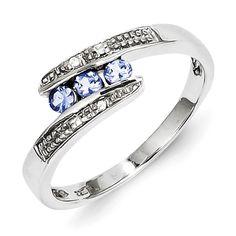 Sterling Silver Tanzanite & Diamond Ring
