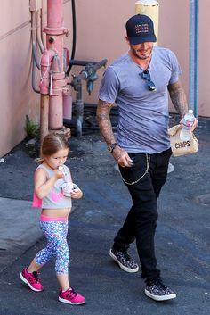 David Beckham e a pequena Harper (Foto: AKM-GSI )