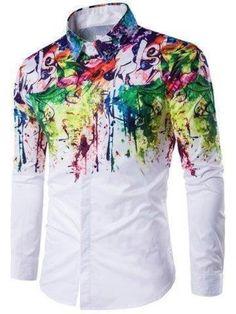 Rosegal Colorful Scrawl Splatter Paint Turndown Collar Long Sleeve Shirt