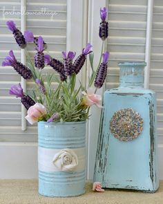 aqua-bottle-and-tin-can-painted-re-purposed-into-decor-tour.jpg (600×750)