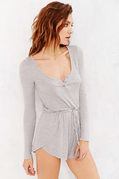 Gray Staring At Stars Henley-Front Romper Pajamas @ Urban Outfitters $30