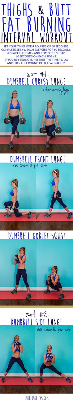 Thighs & Butt Fat Burning Interval #Workout || lushiousLIFTS.com