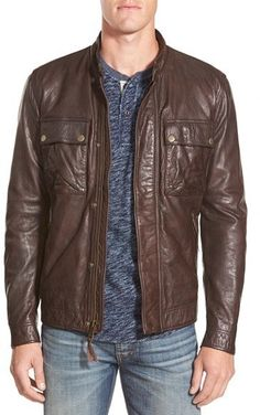 $449, Dark Brown Leather Bomber Jacket: Lucky Brand Ace Leather Jacket. Sold by Nordstrom. Click for more info: https://lookastic.com/men/shop_items/326678/redirect