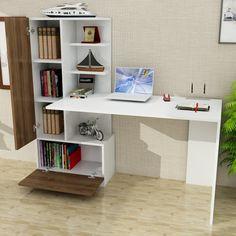 Dekorister Domingos Kitaplıklı Çalışma Masası Beyaz-Ceviz Fiyatı