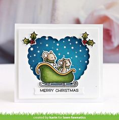 Happy Holiday Mice on Ice with Karin! (Lawn Fawnatics) Happy Holiday Mice on Ice with Karin! Winter Cards, Holiday Cards, Valentine Cards, Paper Crafts Magazine, Paper Craft Making, Paper Crafting, Lawn Fawn Blog, Lawn Fawn Stamps, Christmas Tag