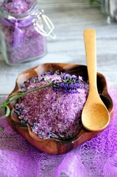 DIY Lavender Bath Salt - 1 cup Epsom salt, 1/2 c sea salt, 2 T dried lavender buds, 10-15 drops lavender essential oil, lavender soap colorant