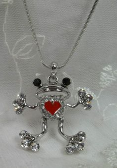 White Gold Plate Crystal Frog with Heart Necklace This Is Cute | eBay