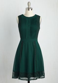 Wants Upon a Time A-Line Dress. Satisfy your desire for adding fairytale style into your daily wardrobe with this dark green dress! #green #modcloth