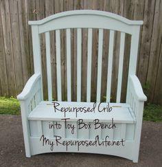 DIY Crib into Toy Box Bench Tutorial