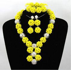 A new Fashion Yellow African Beads Jewelry Set #prestigeapplause #prestige #nigerianjewelry #fashion #yellow #occassions #africanbeads #africanjewelry http://www.prestigeapplause.com/