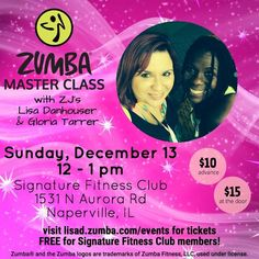 Attention all members and guest. Signature Fitness Club is hosting ZUMBA® master classes w/t Lisa Danhouser & Gloria Tarrer. Sunday, December 13th 12pm-1pm for more info please visit lisad.zumba.com/events This event is FREE for all Signature fitness club members! #Zumba #Signaturefitnessclub #ZumbaMasterclasses #Events