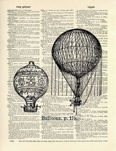 Hot air balloons printed on a dictionary page. Love! From memorydust's etsy shop http://www.etsy.com/listing/62603195/hot-air-balloons-13x19-large-archival?ref=cat1_gallery_23